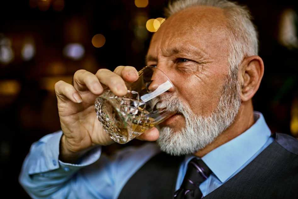 alcohol and beard growth - old man drinking alcohol