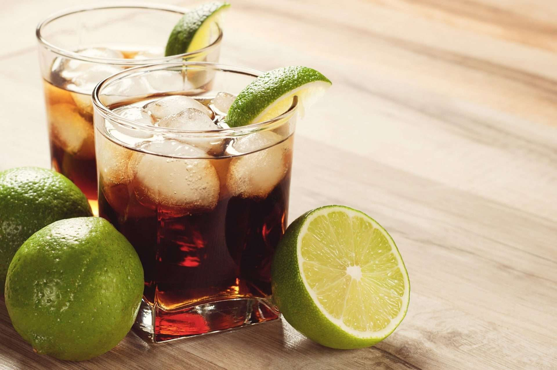 Rum and coke cocktail