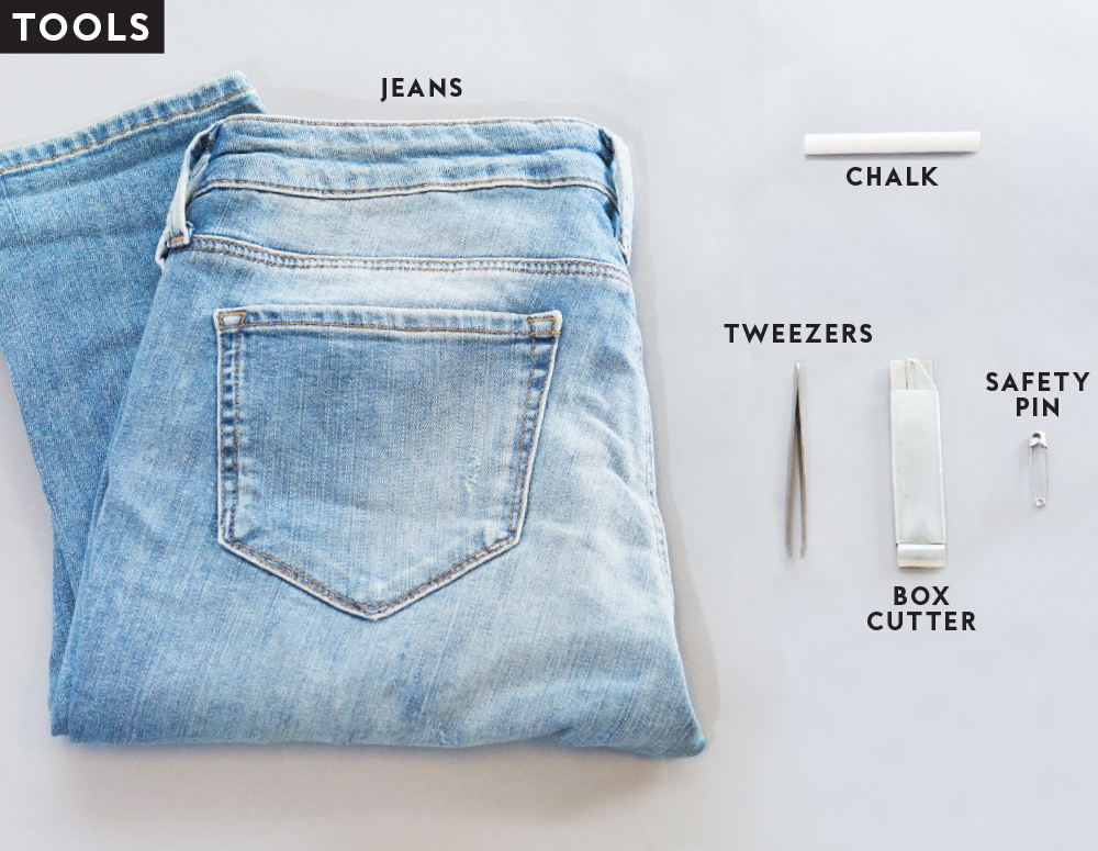 Tools to distress jeans